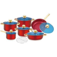 Stainless Steel Cookware with Red Painted Finish